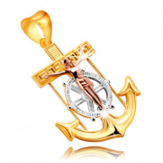 Pendant in combined 9K gold – naval anchor with Jesus on a cross