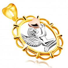 Pendant made of combined 9K gold – praying angel with a heart in his hands, in oval frame
