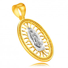 375 Combined gold pendant – medallion with Virgin Mary with hands together
