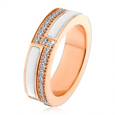 Steel ring in cooper color, strips of white ceramic and clear zircons, 6 mm