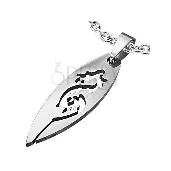 Steel pendant in silver colour, big grain with cutout dragon