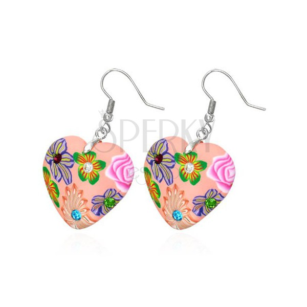 Fimo earrings - pink hearts with colourful flowers