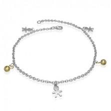 Steel charm bracelet - stickman and ball beads