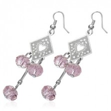 Earrings - decorated rhombus with pink bead balls