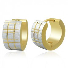 Bicoloured steel earrings - matt hoops with fluted pattern in gold colour