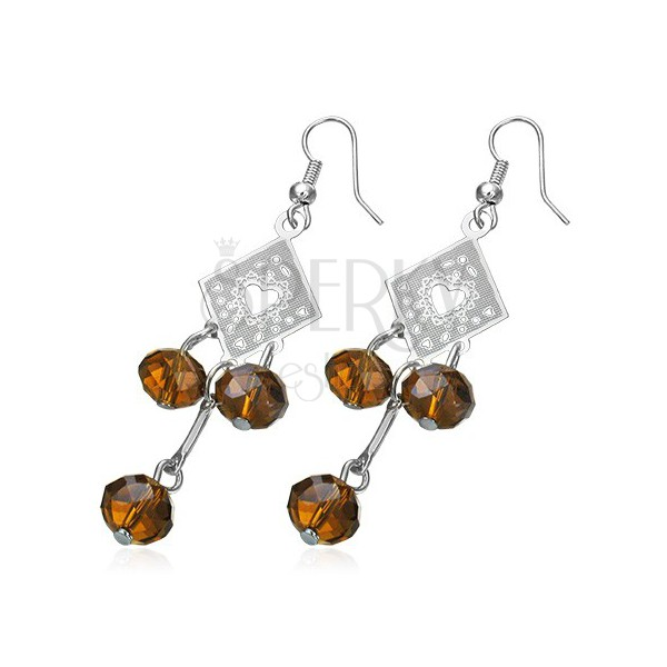Fashion earrings - ornate rhombus with brown beads