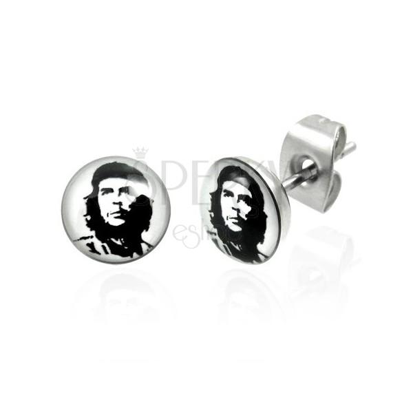 Stud steel earrings Che Guevara 6.9 mm