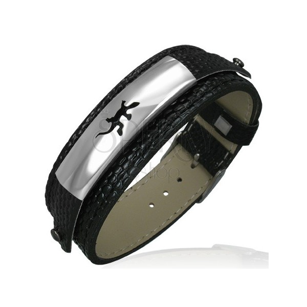 Watch style bracelet with snakeskin imitation and lizard