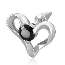 Stainless steel fake expander with heart and black zircon