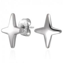 Earrings made of 316L steel in silver hue - star