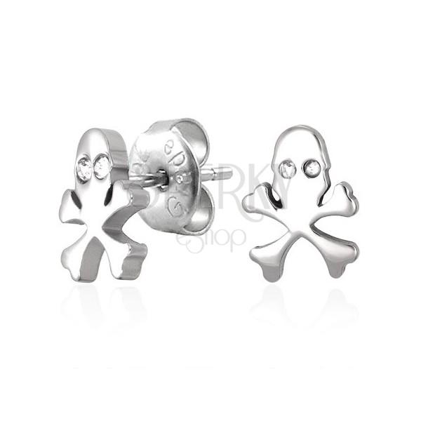 Surgical steel earrings, skull with zircon