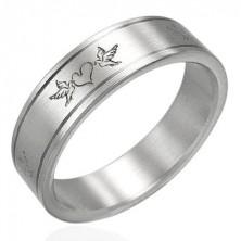 Stainless steel ring - love birds