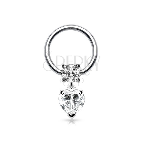 Stainless steel piercing - circle with round and heart zircon
