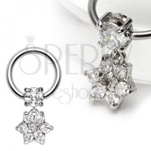 Body ring piercing with dangle zirconic flower
