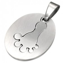 Pendant made of surgical steel, oval tag - footprint, silver colour