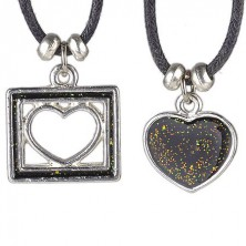 Necklace TWO hearts - full heart and heart in square