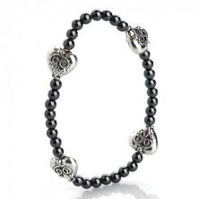 Hematite beaded bracelet - hearts in silver colour