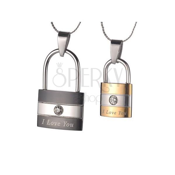 Set of pendants - padlocks with zircons
