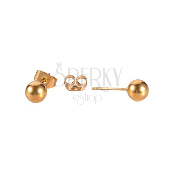 Stud earrings made of 316L steel - balls in copper colour