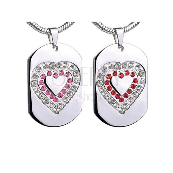 Tag pendant made of steel with zirconic heart