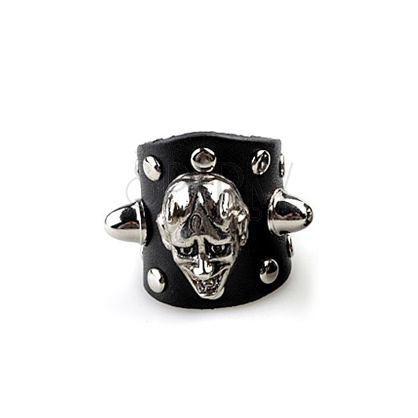 Leather ring - face of devil