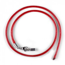Red waxed cord necklace