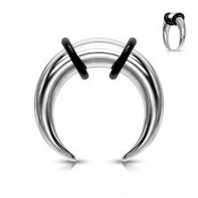 Steel ear piercing, buffalo style, silver colour, black rubbers