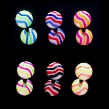 Tongue ring - colorful waves