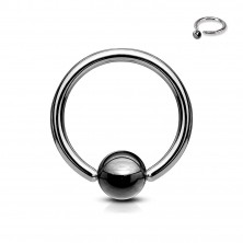 316L steel piercing - circle with ball of dark grey colour