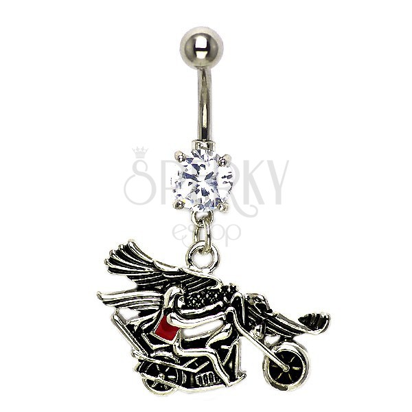 Belly button ring - biker with eagle