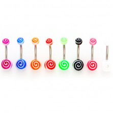 Ball belly button ring - colorful snail