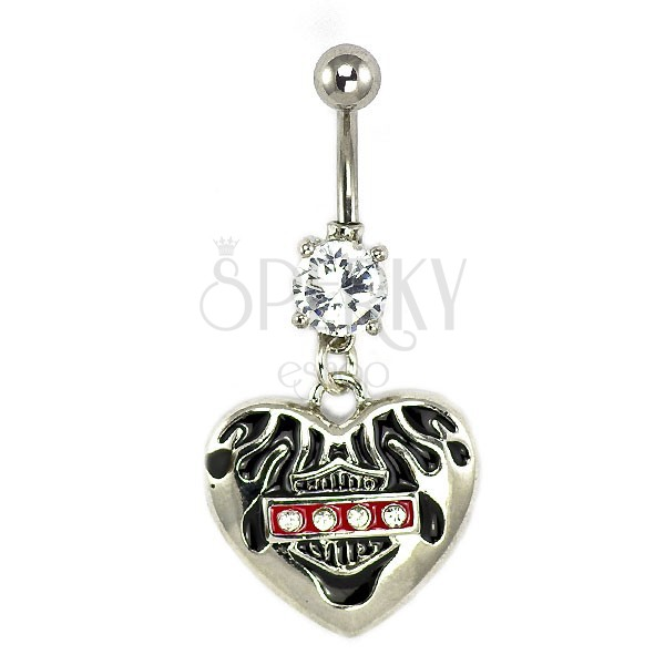 Harley heart belly ring with zircons