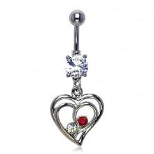 Belly ring - two zircons in love heart