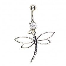 Dragonfly navel piercing - wings contour