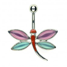 Navel dragonfly piercing - pink and blue toned wings