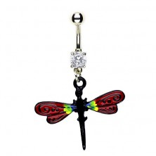 Dragonfly navel ring - red wings