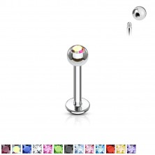 Thin labret with a zirconic ball head 1,2 mm