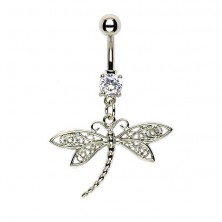 Belly button ring - dragonfly, netted wings
