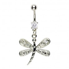 Navel ring - dragonfly, fully shaped wings, net with zircons