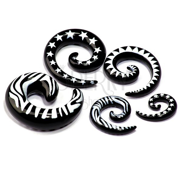 Black snail ear expander with white patterns