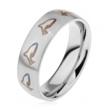 Stainless steel ring - black dolphins
