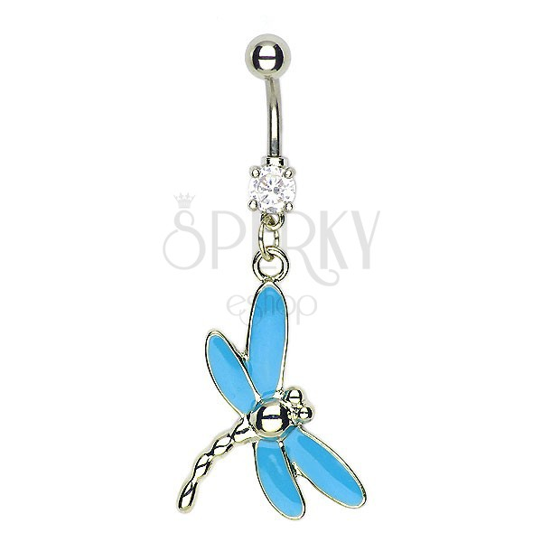 Dragonfly navel ring - blue wings, multiple tail