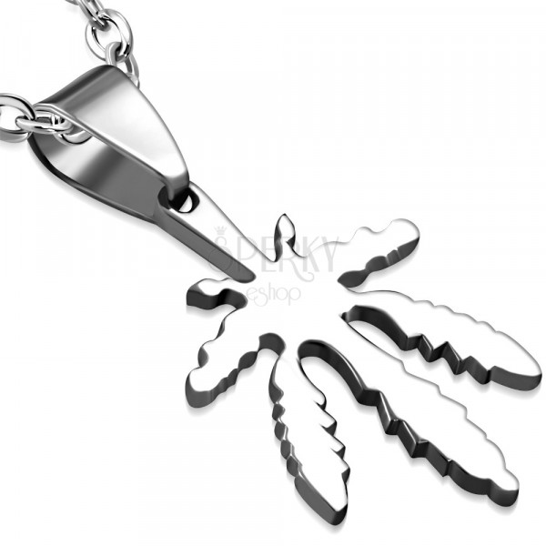 Stainless steel pendant of silver colour - marijuana leaf