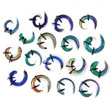 Ear expander - multicoloured glass spiral, rubber bands