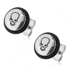 Surgical steel earrings - black skull, rubber O-ring