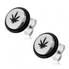 Surgical steel earrings - black marijuana leaf