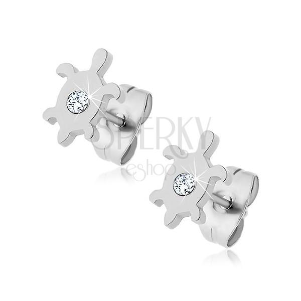 Steel earrings - turtle with zircon