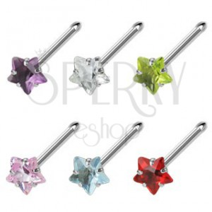 Nose stud with star-shaped colorful zircon