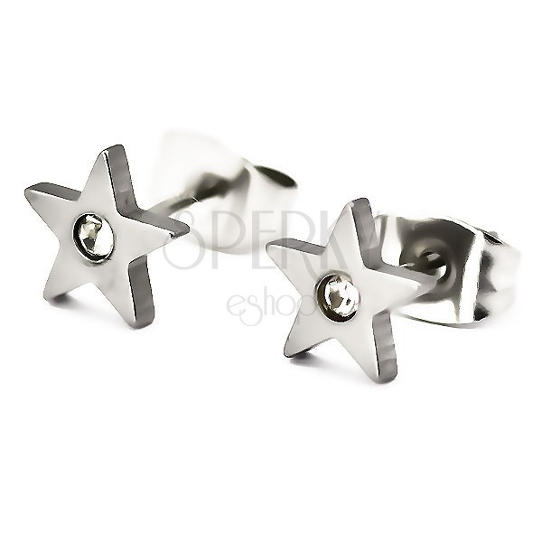 Surgical steel earrings - star with zircon