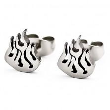Surgical steel earrings - burning flames